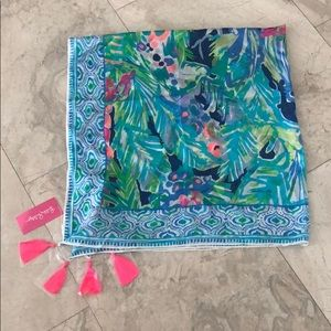 NWT Lilly Pulitzer Silk Wrap with tassels